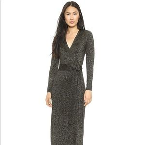 DVF Emma Metallic Maxi Wrap Dress